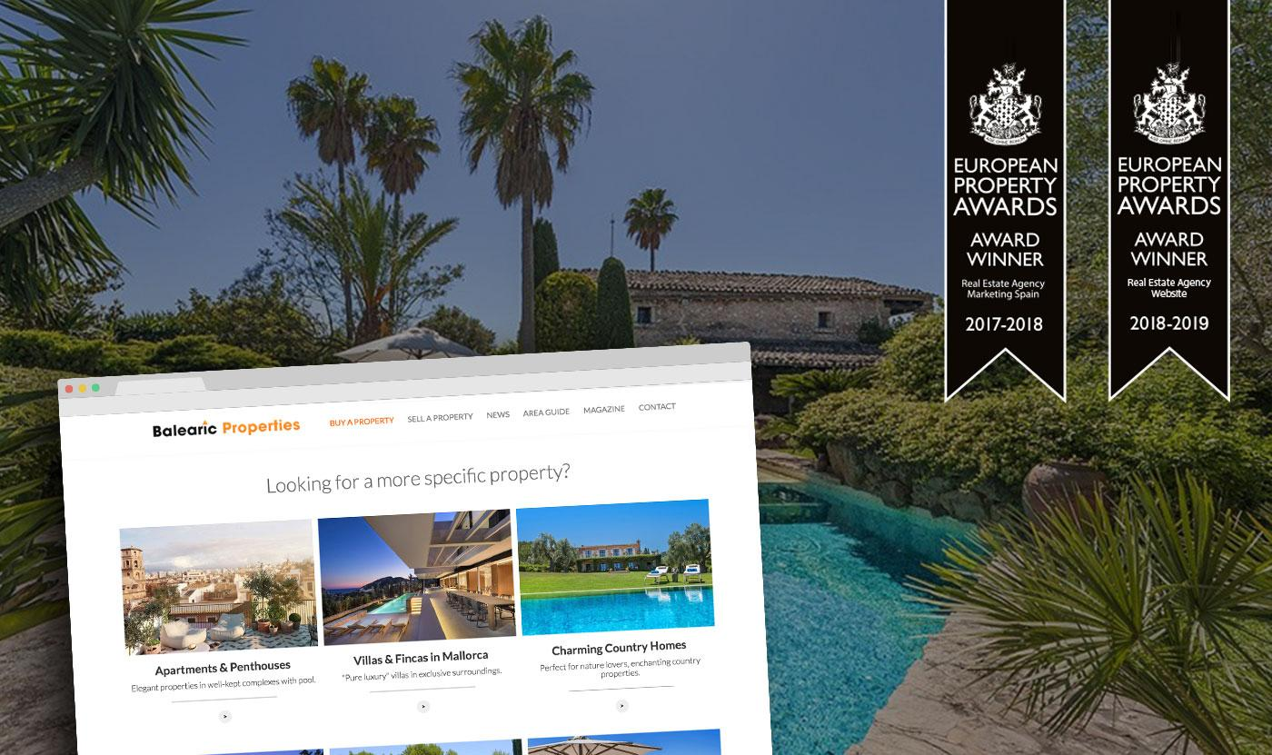 Balearic Properties, awarded with an internationally<br/> acknowledged prize for its new website.