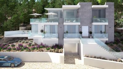 Villa under construction with modern design for sale in Santa Ponsa, Mallorca