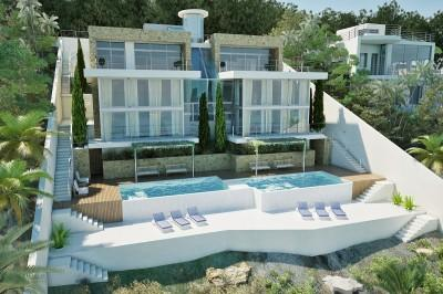 New construction project of a luxury villa with pool for sale in Cala Vinyes, Mallorca