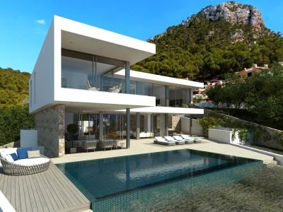 Plot with project for modern sea view villa for sale in Port Andratx, Mallorca