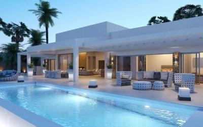 Modern villa with Ibizan style architecture for sale, north Mallorca