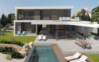 Minimalist frontline villa project for sale in Cala d´Or, Mallorca