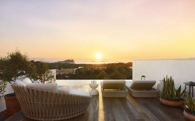 Luxury residential complex of 15 villas with private pool and sea views terrace for sale in Ibiza