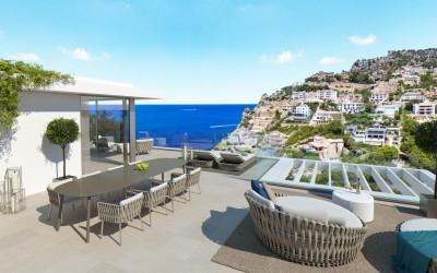 Luxury sea view villa with roof terrace for sale in Puerto Andratx, Mallorca